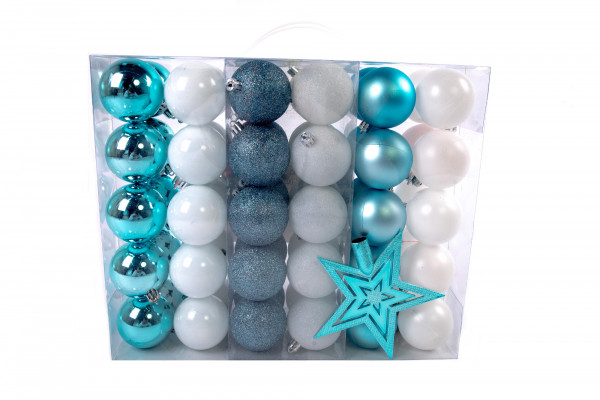 Large Christmas balls set 61 pieces Ø 6 cm white / blue including star lace Christmas tree decorations
