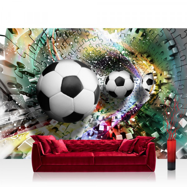 Vlies Fototapete Fußball Tapete Abstrakt Fußball Rechteck Puzzle Tunnel weiß