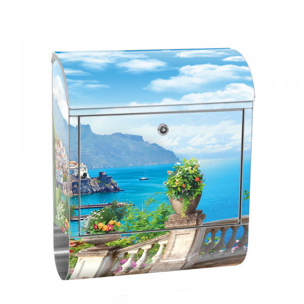 Stainless Steel Letterbox with Newspaper roll & Motif terrace sea view | No. 0227