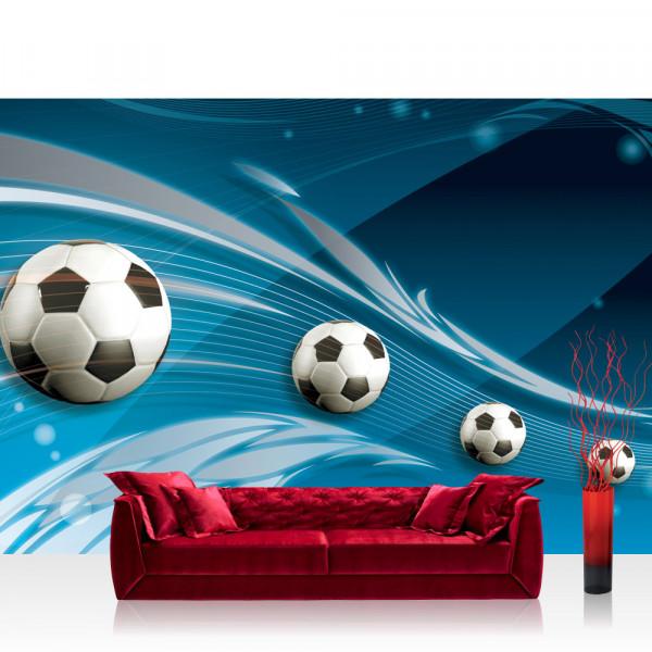Vlies Fototapete Fußball Tapete Ornamente Fußball Schlingen Kunst blau
