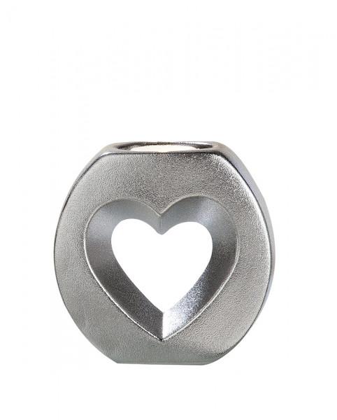 Moderner Teelichthalter Teelichtleuchte Herz aus Keramik silber 12x12 cm