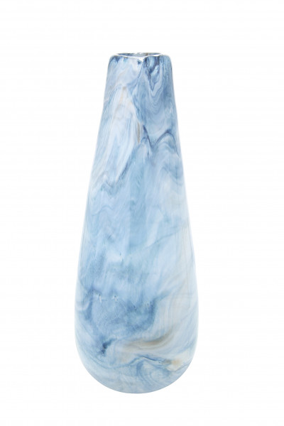 Moderne Dekovase Blumenvase Tischvase Vase aus Glas weiß blau 17x40 cm