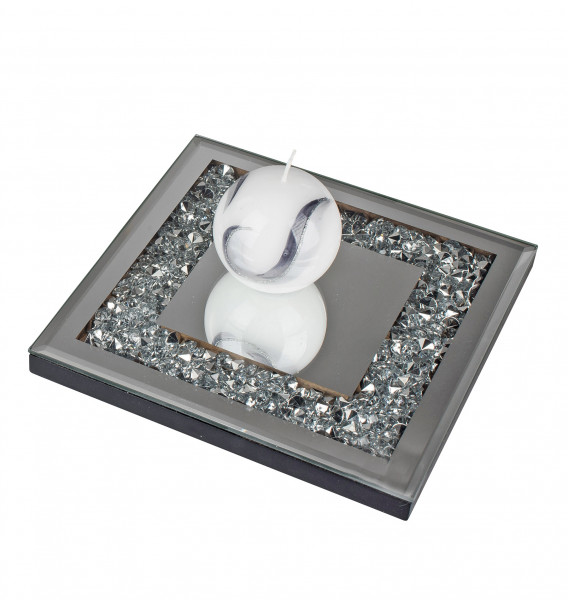 Beautiful Coaster Table coaster made of Wood and Mirror glass silver 20x20 cm