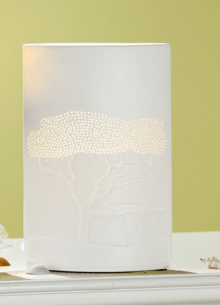Moderne Tischlampe Lampe Savanne aus Porzellan weiß Höhe 20 cm Breite 17 cm E14 max 40W