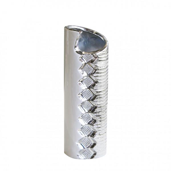 Moderne Deko Vase Blumenvase Tischvase aus Keramik weiß/silber mit Perlenreihe Höhe 31 cm