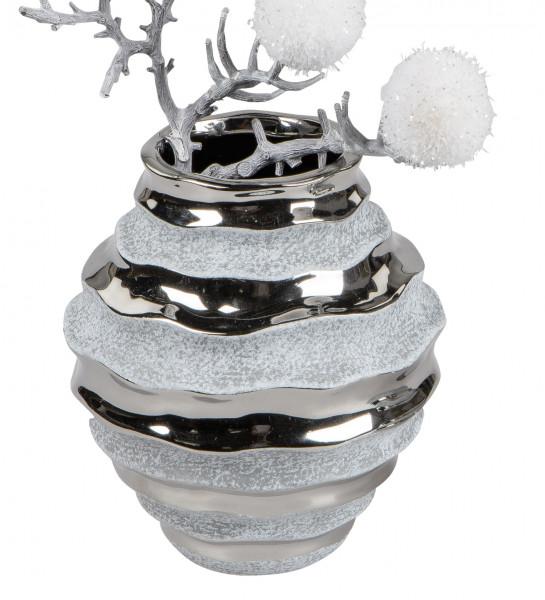 Moderne Dekovase Blumenvase Tischvase Vase aus Keramik Stone Silber 14x15 cm