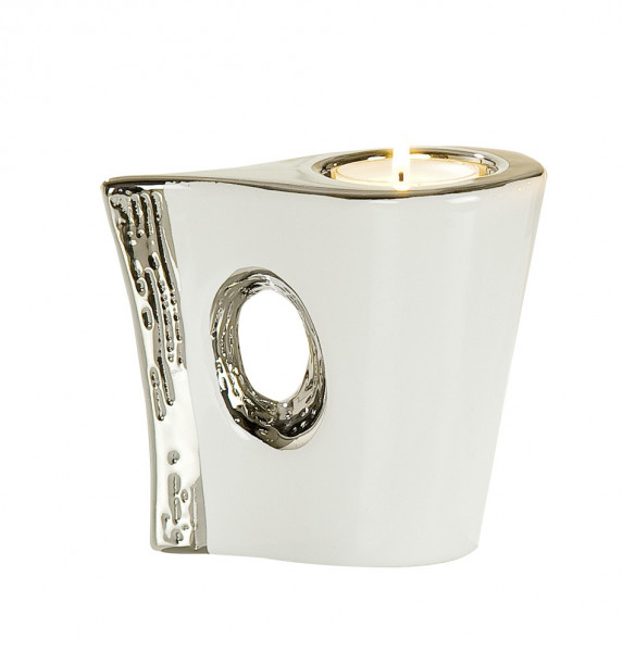 Moderner Teelichthalter Teelichtleuchte Windlicht aus Keramik weiß/silber Höhe 10,5 cm Breite 12 cm