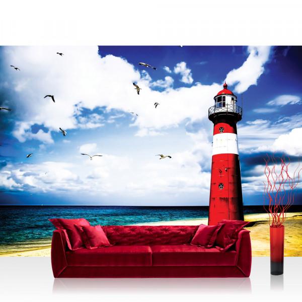 Vlies Fototapete Meer Tapete Leuchtturm Strand Wasser Meer Vögel blau