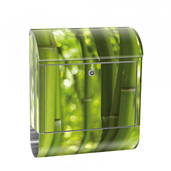 Stainless Steel Letterbox with Newspaper roll & Motif Bamboo nature tropical | No. 0071