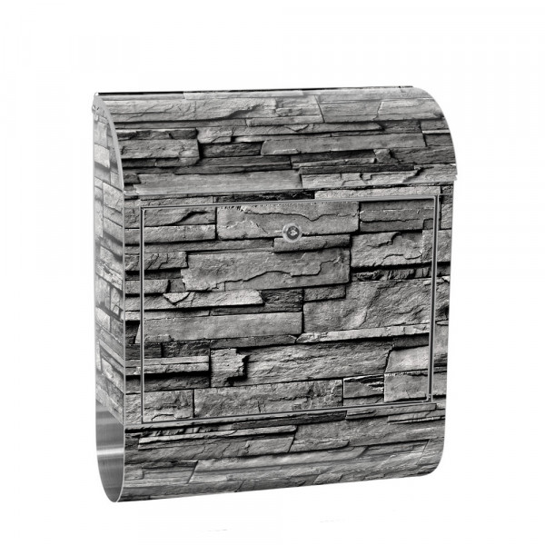 Stainless Steel Letterbox with Newspaper roll & Motif stone wall Stone Optics | No. 0131