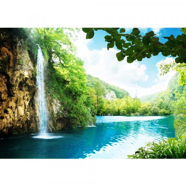 Vlies Fototapete Waterfall in Paradise Berge Tapete Wasserfall Lagune Paradies Berge See