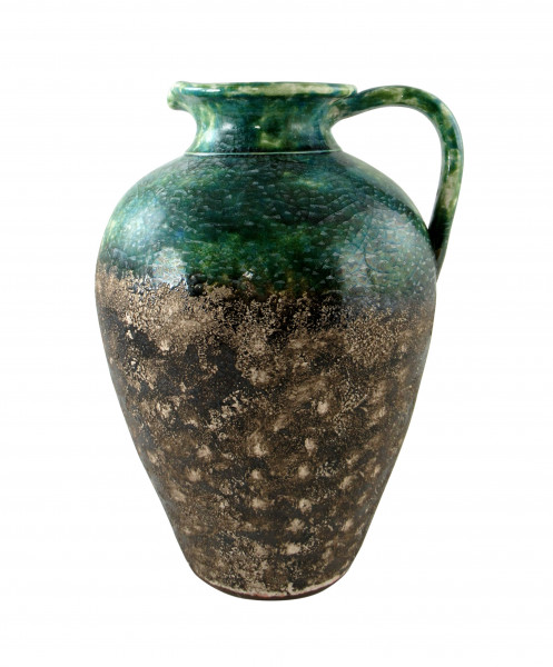 Modern deco vase flower vase table vase jug ceramic turquoise green brown 24x30 cm