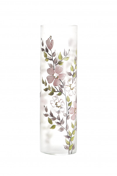 Modern deco vase flower vase Table vase glass vase with floral decor Height 40.5 cm