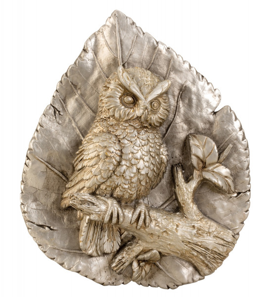 Modern sculpture decorative panel with owl made of ceramic in silver / gold Height 34.5 cm Width 28