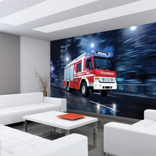 Vlies Fototapete Skylines Tapete Feuerwehr Auto Nacht Lichter rot