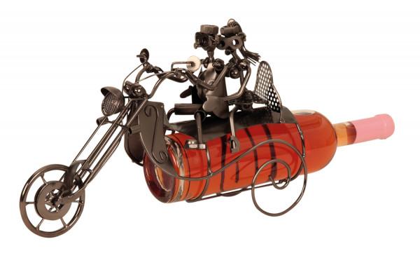 Moderner Wein Flaschenhalter Motorrad mit Paar aus Metall in silber Höhe 23 cm Breite 36 cm