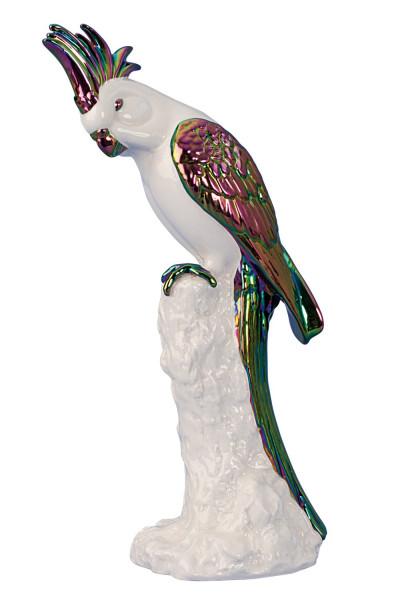Moderne Skulptur Dekofigur Papagei Vogel sitzend aus Keramik weiß/mehrfarbig Höhe 30 cm
