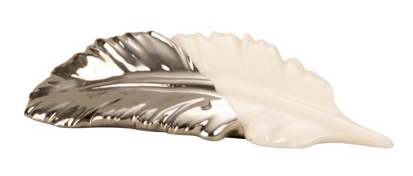 Moderne Skulptur Vogel Feder aus Keramik weiß/silber Länge 12 cm *2 Stück*
