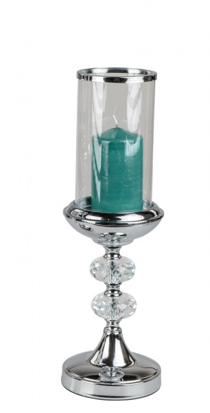 Wind light holder Candle holder in elegant design chrome / glass Height 40 cm D 10 cm