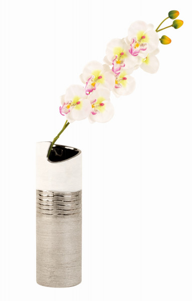 Modern decorative vase flower vase ceramic white / silver Height 30 cm