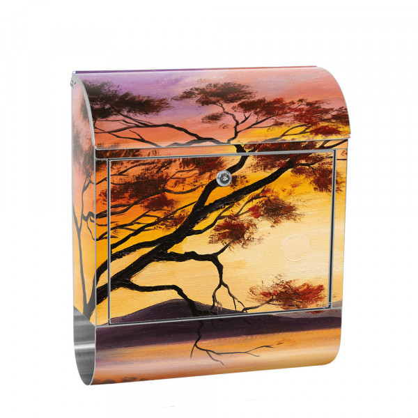 Stainless Steel Letterbox with Newspaper roll & Motif Romantic Holiday | No. 0241