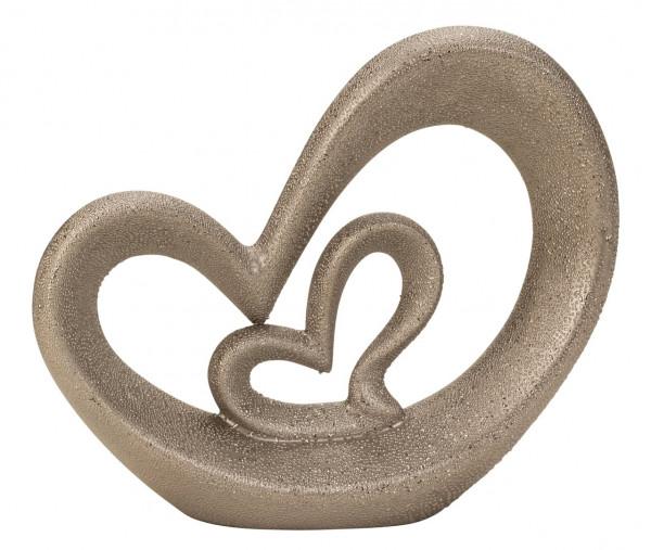 Lifestyle /& More Moderne Herz Skulptur Dekofigur aus Keramik in Silber H/öhe 22 cm Breite 28 cm