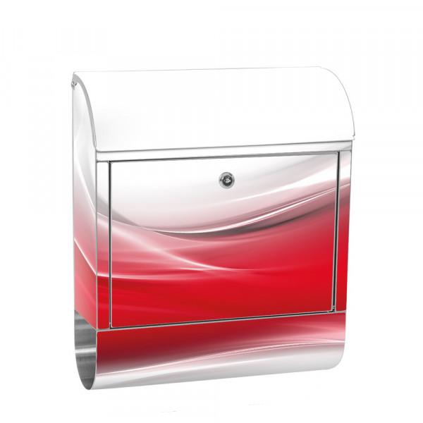 Edelstahlbriefkasten mit Zeitungsrolle & Motiv Ornament abstrakt Rot | no. 0214