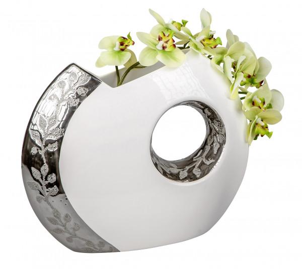 Moderne Deko Vase Blumenvase Tischvase aus Keramik weiß/silber Höhe 26 cm