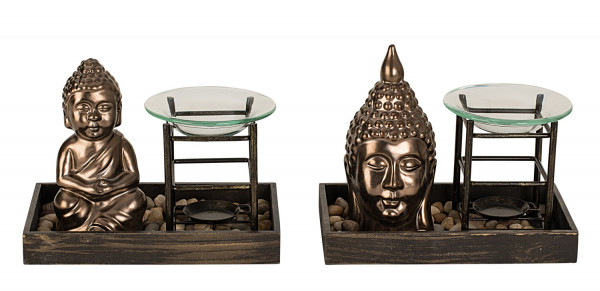 Contemporary evaporator Buddha made of wood and ceramics in brown Hight 14.5 + 16 cm