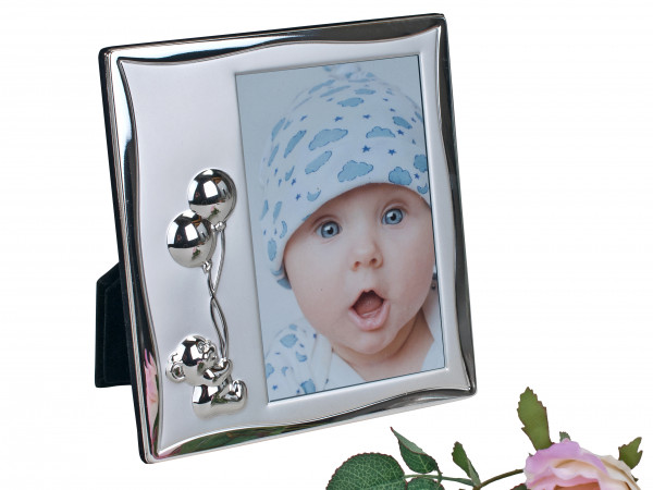Moderner Kinder Fotorahmen Bilderrahmen Teddy aus Aluminium silber 10x15 cm