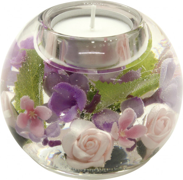 Modern tealight holder 'Florala' glass lantern holder 8x9 cm * Exclusive handmade *