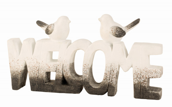 Contemporary lettering WELCOME two bird figures white / gray height 20 cm width 38 cm