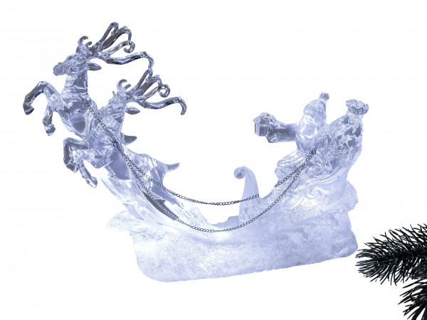 Illuminated LED Santa with reindeer in white from acrylic filled with water length 24 cm