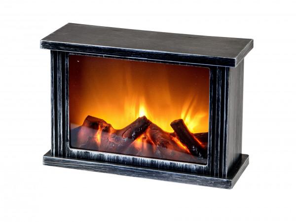 LED Tischkamin Kamin LED Laterne mit Timer und realistischer Flammensimulation schwarz aus Kunststof
