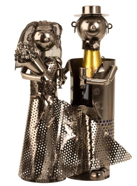 Moderner Flaschenhalter Flaschenständer Hochzeitspaar aus Metall silber Höhe 37 cm