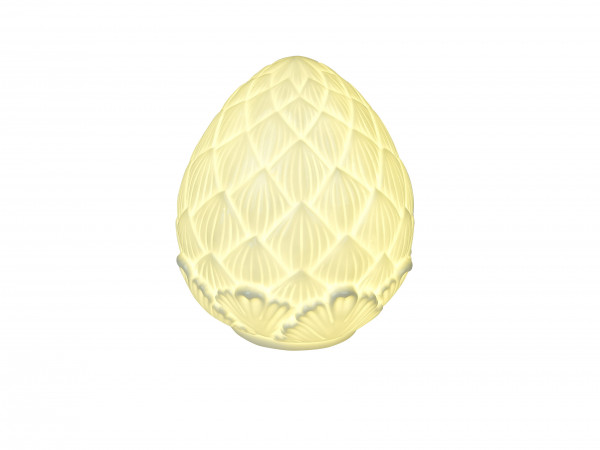 Modern sculpture artichoke with LED lighting made of porcelain in white height 14 cm
