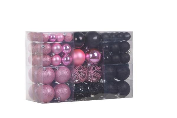 100 pieces Christmas balls black / pink Christmas tree decorations Christmas tree balls 100 metal hooks Pendants Shatterproof