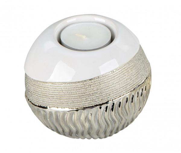 Moderner Teelichthalter Windlicht aus Keramik weiß gold glänzend und matt Höhe 10 cm