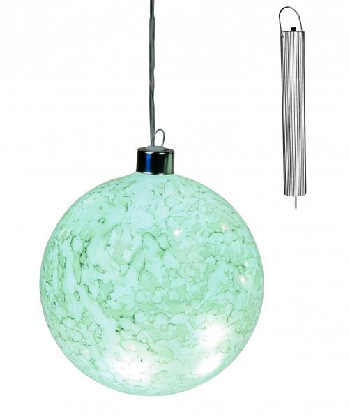 Hänge Deko LED Lampe Kugel Garten Leuchte rund mit Batterie Akku und Timer türkis Ø 12 cm für Innen