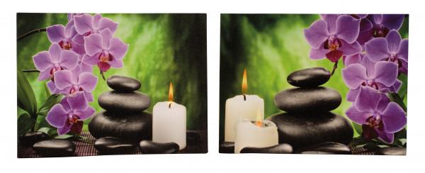 2 Stück LED-Bild Leinwandbild Kunstdruck Kerze mit Steinen jeweils 40x30cm