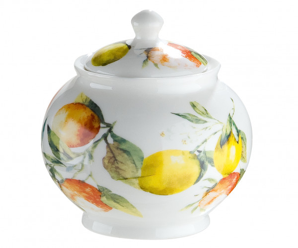 Modern sugar bowl Deco ceramic pot in white / multicolored Height 9.5 cm Width 9 cm