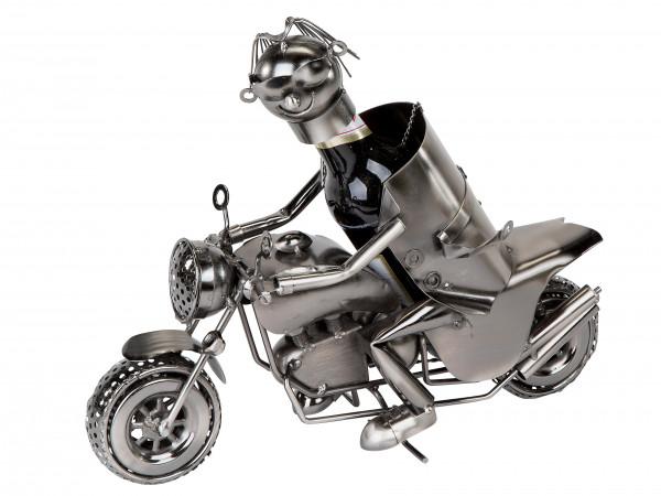 Flaschenhalter Flaschenständer Motorrad für Bierflaschen aus Metall Silber Länge 30 cm