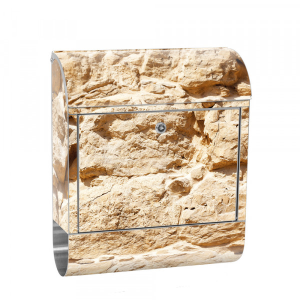 Stainless Steel Letterbox with Newspaper roll & Motif stone wall Stone Optics | No. 0025