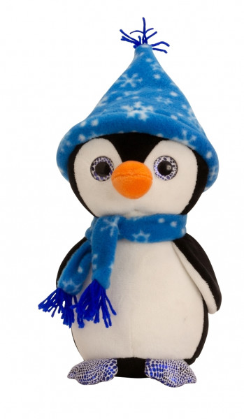 Cuddly soft penguin with cap and scarf blue Height 27 cm velvety Soft cuddly toy