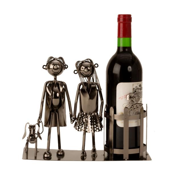 Moderner Weinflaschenständer Flaschanhalter Paar mit Hund aus Metall silber Höhe 22 cm