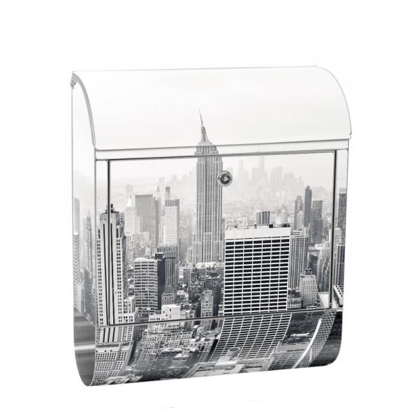 Edelstahlbriefkasten mit Zeitungsrolle & Motiv New York City Amerika | no. 0118