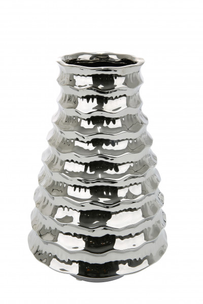 Moderne Deko Vase Blumenvase Tischvase 'Ripple' aus Keramik silber 21x21x31 cm