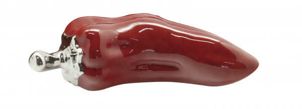Modern sculpture decoration figure hot peppers ceramic red / silver length 15 cm