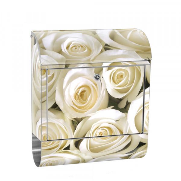Edelstahlbriefkasten mit Zeitungsrolle & Motiv Blumen Rose Blüte Weiß | no. 0184