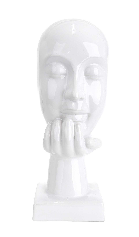 Moderne Skulptur Deko Figur aus Keramik hellblau Höhe 30 cm Breite 16 cm